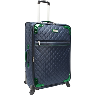 Beverly Hills Country Club BH4800 29in. Quilted Spinner Upright Luggage Suitcase, Navy/Green