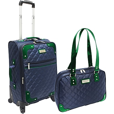 Beverly Hills Country Club BH4802 2-Piece Quilted Carry-On Luggage Set, Navy/Green