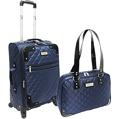 Beverly Hills Country Club BH4802 2-Piece Quilted Carry-On Luggage Set, Navy/Black