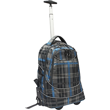 GP® 80780 Horizon Rolling Computer Backpack For 17in. Laptops, Gray Plaid