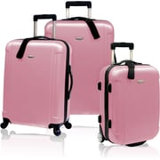 Traveler's Choice® TC2400 FREEDOM 3-Piece Hard-Shell Spin/Rolling Travel Luggage Set, Dusty Rose