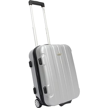 Traveler's Choice® TC3900 Rome 21in. Hard-Shell Carry-On Upright Luggage Suitcase, Silver