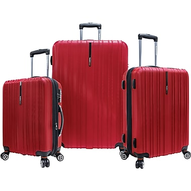 Traveler's Choice® TC5000 Tasmania 3-Piece Expandable Spinner Luggage Set, Cherry Red