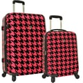 Traveler's Choice® TC8200 Midway 2-Piece Hardside Expandable Luggage Set, Hot Pink Houndstooth Print
