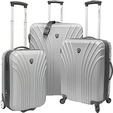 Traveler's Choice® TC8500 Cape Verde 3-Piece Hardsided Ultra Lightweight Luggage Set, Silver