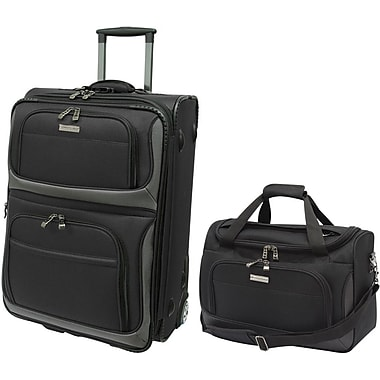 Traveler's Choice® TC9702 2-Piece Lightweight Carry-On Luggage Set, Black