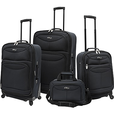 U.S.® Traveler US3600 Fashion 4-Piece Spinner Luggage Set, Charcoal