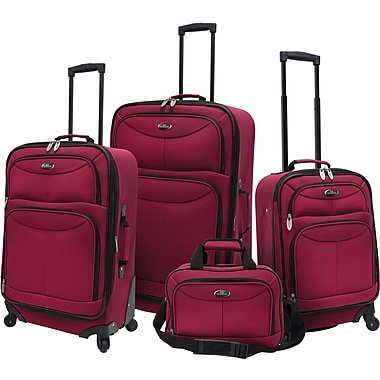 U.S.® Traveler US3600 Fashion 4-Piece Spinner Luggage Set, Maroon