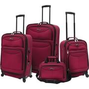 U.S.® Traveler US3600 Fashion 4-Piece Spinner Luggage Set, Maroon