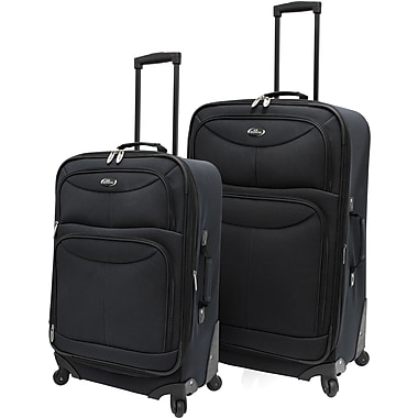 U.S.® Traveler US3601 Fashion 2-Piece Spinner Luggage Set, Charcoal