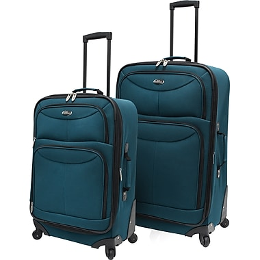 U.S.® Traveler US3601 Fashion 2-Piece Spinner Luggage Set, Teal