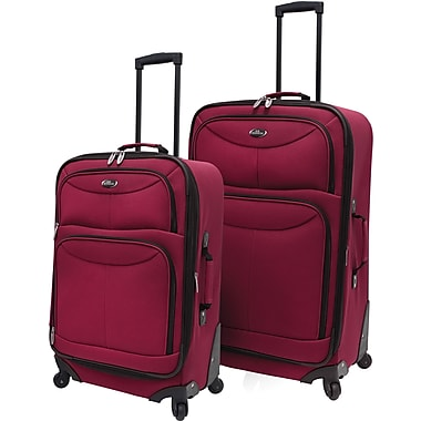 U.S.® Traveler US3601 Fashion 2-Piece Spinner Luggage Set, Maroon