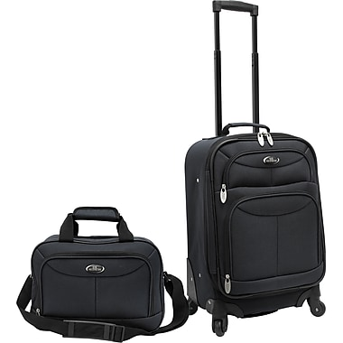 U.S.® Traveler US3602 Fashion 2-Piece Carry-On Luggage Set, Charcoal