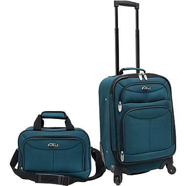 U.S.® Traveler US3602 Fashion 2-Piece Carry-On Luggage Set, Teal