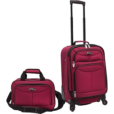 U.S.® Traveler US3602 Fashion 2-Piece Carry-On Luggage Set, Maroon