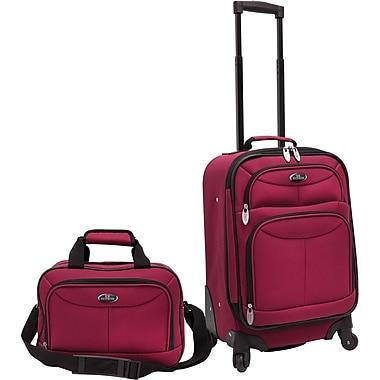 U.S.® Traveler US3602 Fashion 2-Piece Carry-On Luggage Set, Maroon