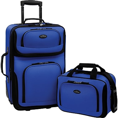 U.S.® Traveler US5600 Rio 2-Piece Expandable Carry-On Luggage Set, Blue