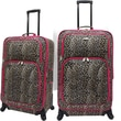 U.S.® Traveler US7401 Fashion 2-Piece Spinner Luggage Set, Leopard