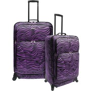 U.S.® Traveler US7401 Fashion 2-Piece Spinner Luggage Set, Purple Zebra