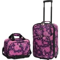 U.S.® Traveler US7402 Fashion 2-Piece Carry-On Luggage Set, Purple Polka Dot