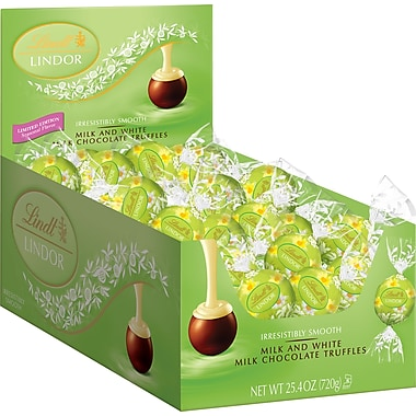 Lindt LINDOR Spring Chocolate Truffles, Milk & White Chocolate, 60 Truffles/Box
