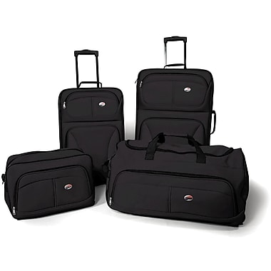 American Tourister Fieldbrook 4 Piece Softside Luggage Set, Black