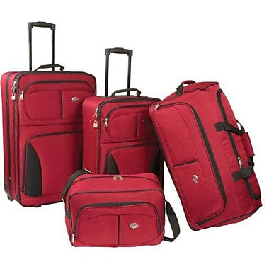 American Tourister Fieldbrook 4 Piece Softside Luggage Set, Red