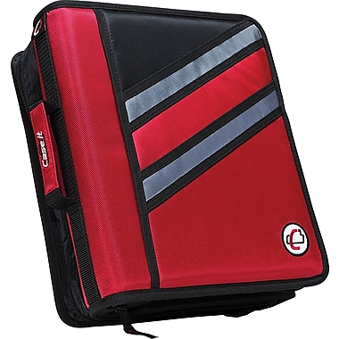 Case•it Z-176  1 1/2in. Red 2-in-1 Zipper Binder