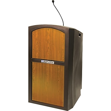 Amplivox Pinnacle Full Height Wireless Sound Lectern (Medium Oak)