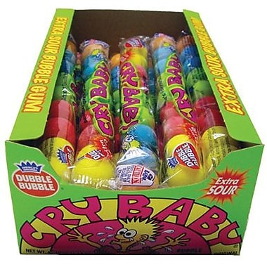 Cry Baby Extra Sour 9-Piece Gumball Tube, 0.95 oz. Tube, 24 Tubes/Box