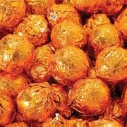 Birnn Dark Chocolate Orange Truffles, Orange Foil, 1 lb. Bulk