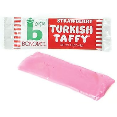 Bonomo Taffy Strawberry, 1.5 oz. Bars, 24 Bars/Box
