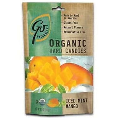 GoNaturally Organic Hard Candy Iced Mango, 3.5 oz. Bag, 6 Bags/Box