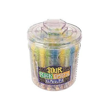 Assorted Sour Rock Candy Sticks, 48 Sticks/Tub