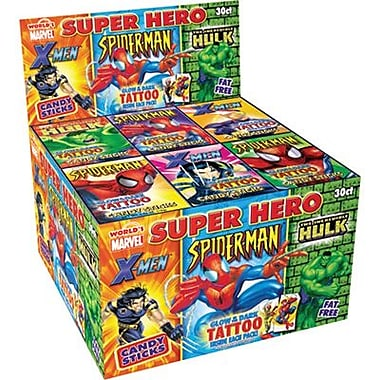 Super Hero Candy Sticks with Tattoo, 30 Packs/Box
