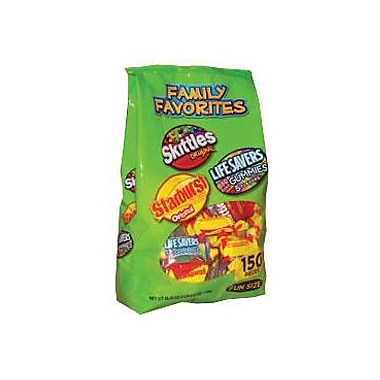 Family Favorites Skittles, Starburst, and Life Saver Gummies Fun Size Variety Bag, 150 Pieces/Bag