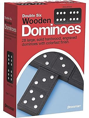 Pressman Toy Early Learning Game, Double Six Wooden Dominoes 835637