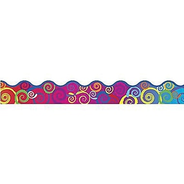 Trend Enterprises® Pre-kindergarten - 9th Grades Scalloped Terrific Trimmer, Rainbow Swirls