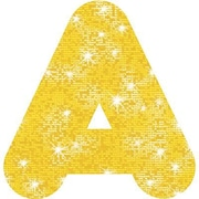 "Trend Enterprises® Casual Sparkles Ready Uppercase Letter, 4"", Yellow"