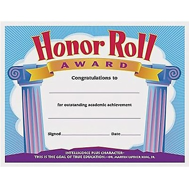 Trend Enterprises® Colorful Classics Certificate Awards, Honor Roll