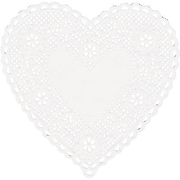 "Hygloss® Heart Paper Lace Doilies, 4"", White"