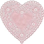 "Hygloss® Heart Paper Lace Doilies, 4"", Pink"