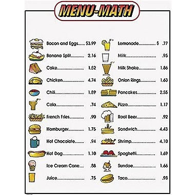 Remedia® Menu Math For Beginners Book, Extra Price Lists, Grades 1st - 3rd