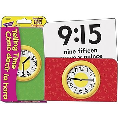Trend Enterprises® Pocket Flash Card, Telling Time/Como decir la hora