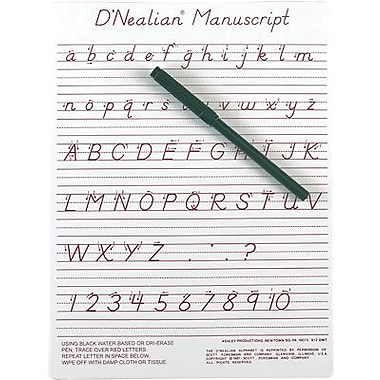 Ashley® D'Nealian® Manuscript Write-On/ Wipe-Off Board, 9in. x 12in.