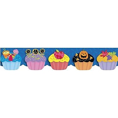 Creative Teaching Press 6513 35' x 2.75in. Scalloped Birthday Cupcakes Border, Multicolor