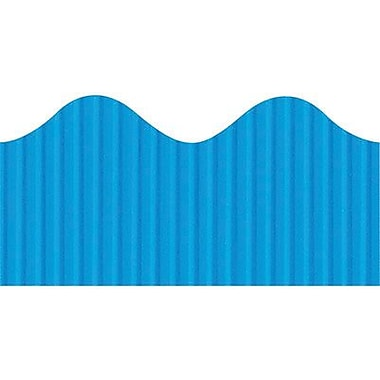 Pacon Corporation Bordette 37176 50' x 2.25in. Scalloped Stripes Decorative Border, Brite Blue