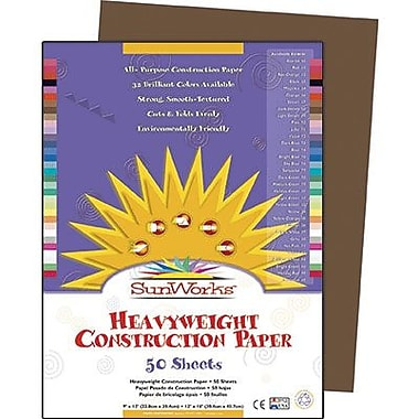 Pacon® SunWorks® Groundwood Construction Paper, Dark Brown, 9in.(W) x 12in.(L), 50 Sheets