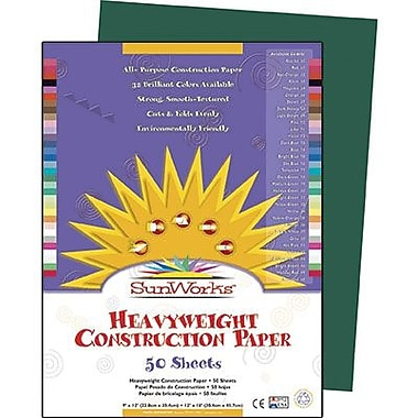 Pacon® SunWorks® Groundwood Construction Paper, Dark Green, 9in.(W) x 12in.(L), 50 Sheets