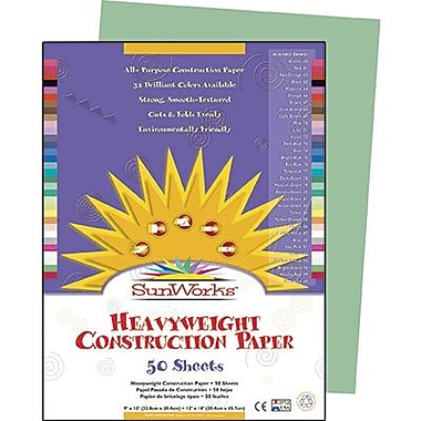 Pacon® SunWorks® Groundwood Construction Paper, Light Green, 9in.(W) x 12in.(L), 50 Sheets